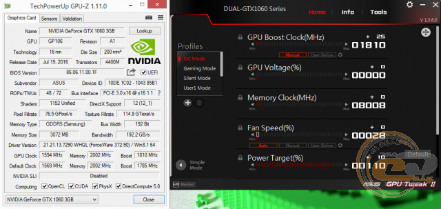 Video card test 1060 in video games
