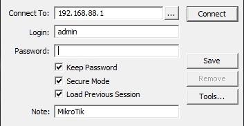 The basic configuration of the router mikrotik